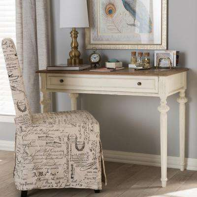Marquetterie French Provincial White Finished Wood Desk