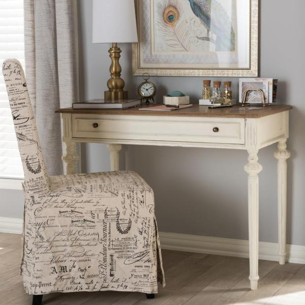 Baxton Studio Marquetterie French Provincial White Finished Wood Desk 28862-7191-HD
