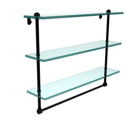 22 in. Triple Tiered Glass Shelf with Integrated Towel Bar in Matte Black