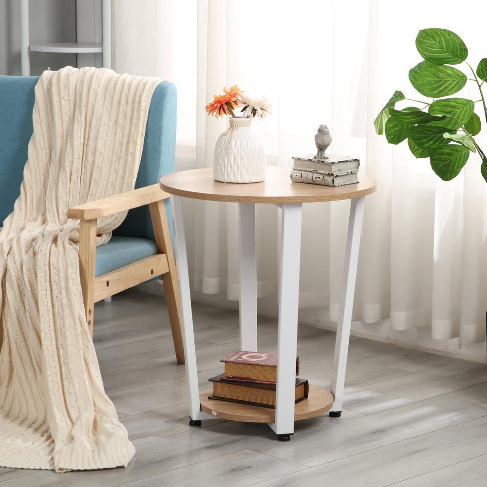 Modern Simple Side Table Design.Harper Bright Designs Walnut Modern Simple End Side Table With Shelf
