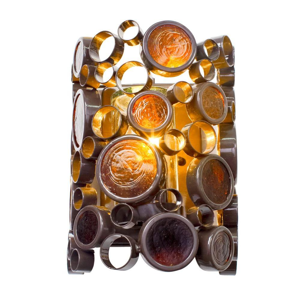 Varaluz Fascination 1-Light Glossy Bronze Outdoor Sconce with Amber Glass