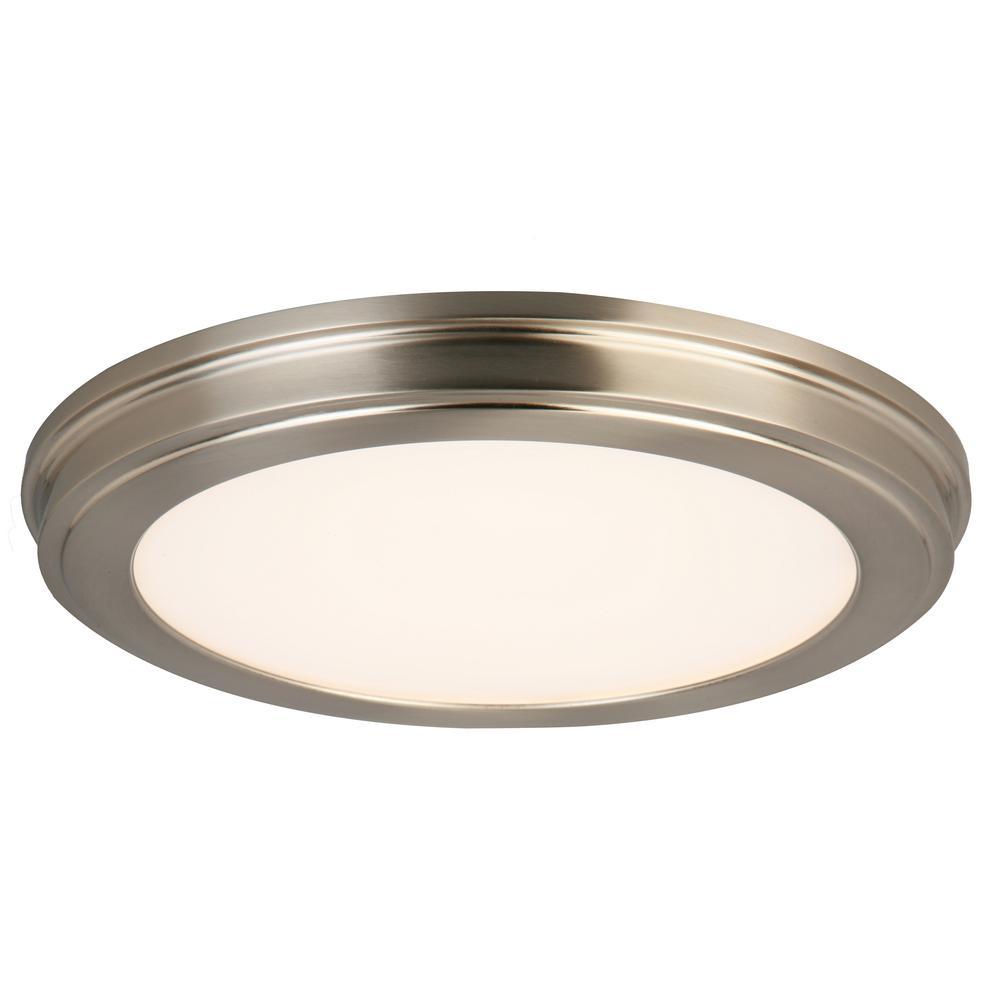 15 in. Brushed Nickel LED Ceiling Flush Mount with White Acrylic Shade