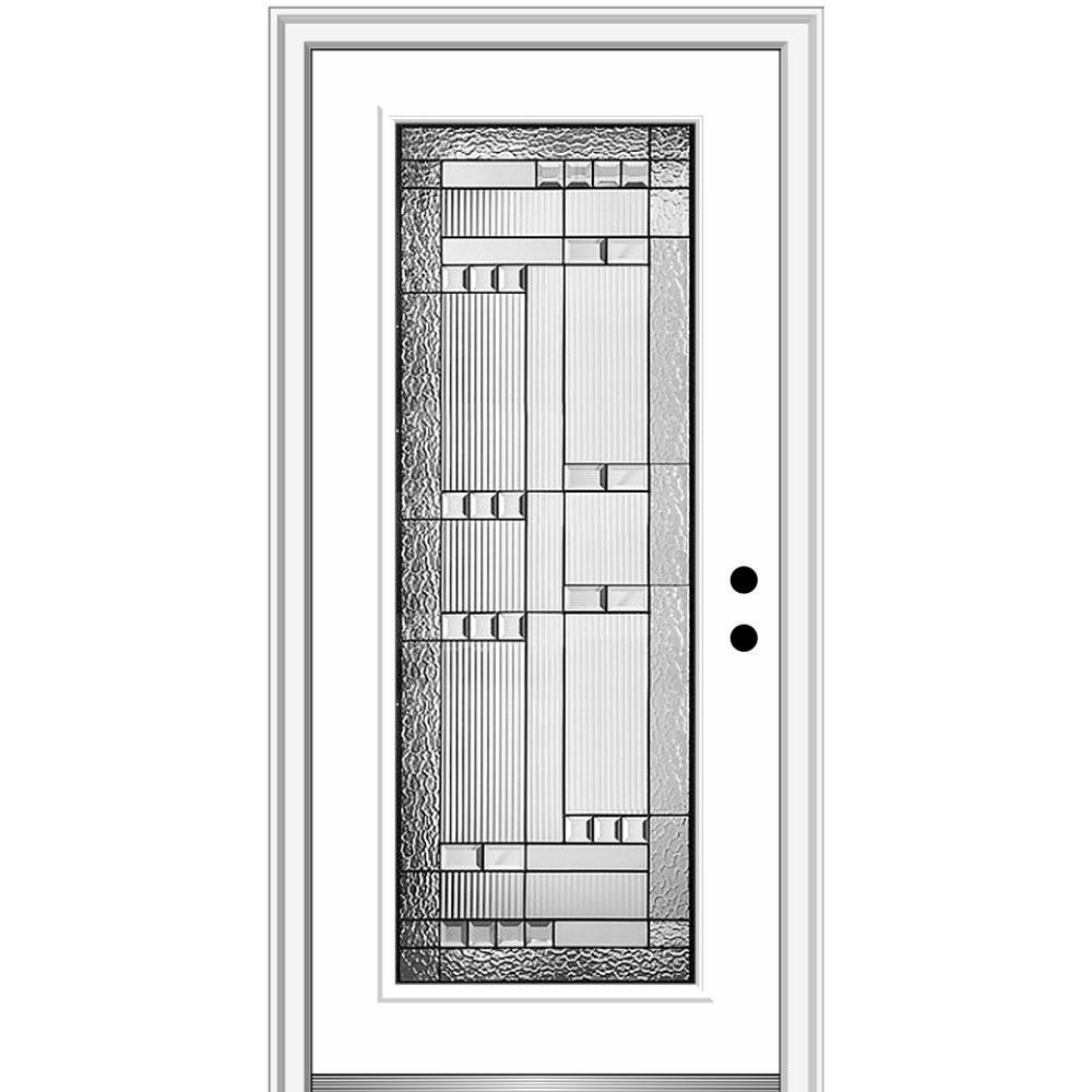 36 in. x 80 in. Metro Left-Hand Inswing Decorative Full Lite Primed Fiberglass Prehung Front Door on 6-9/16 in. Frame