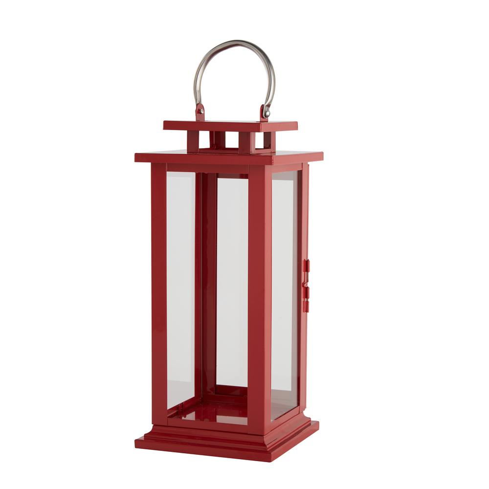 15.35 in. H Ruby Red Metal and Glass Lantern