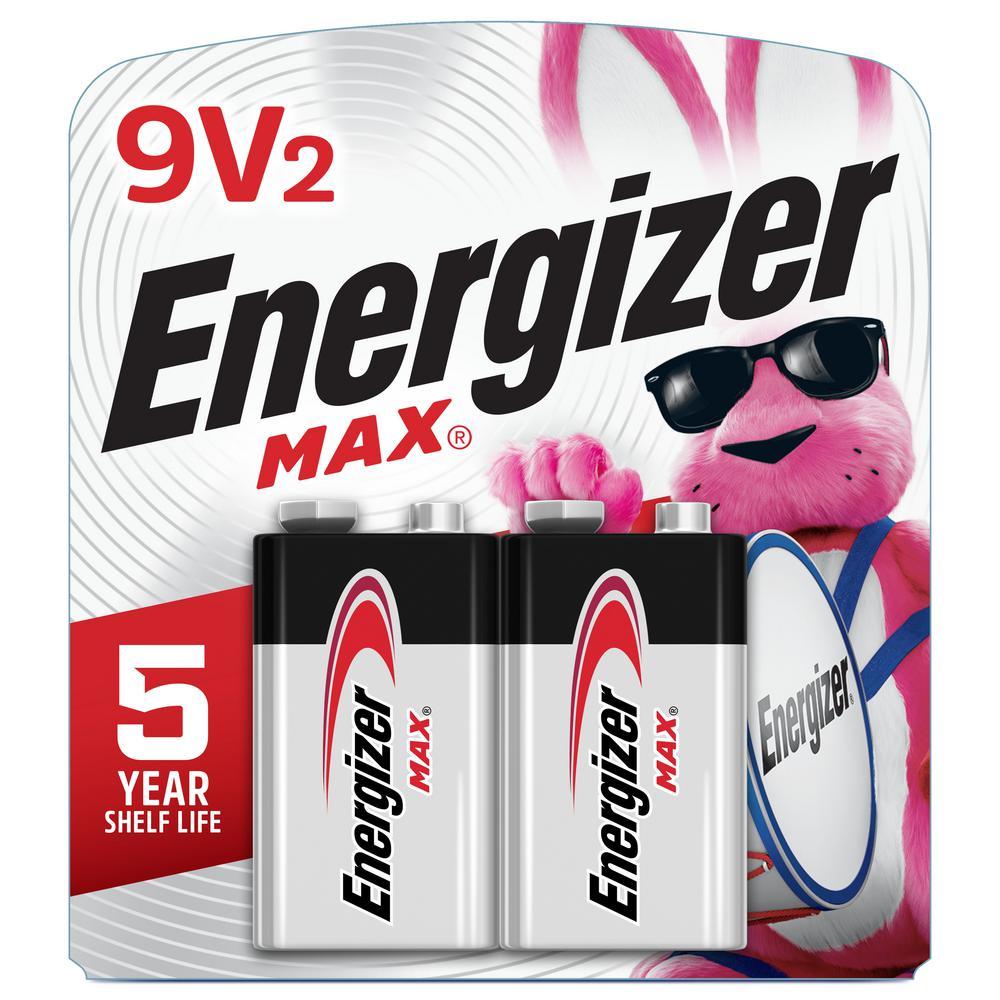 MAX 9V Batteries (2 Pack), 9 Volt Alkaline Batteries