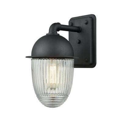 Channing Large 1-Light Matte Black with Clear Ribbed Glass Outdoor Wall Mount Sconce