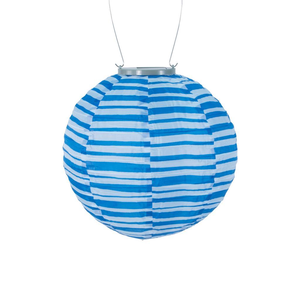 Blue White Stripe Round Integrated Led Hanging Outdoor Nylon Solar Lantern