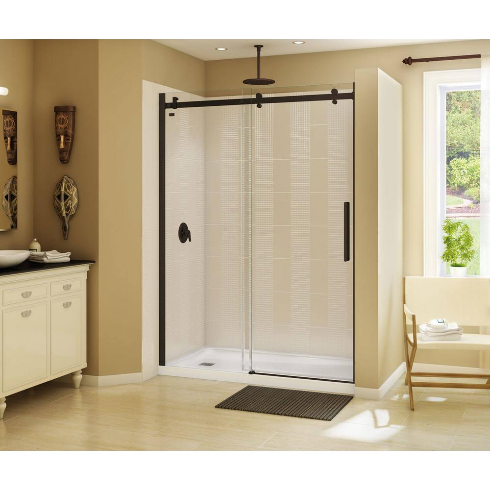 MAAX Halo 59 in. x 78-3/4 in. Frameless Sliding Shower Door in Dark ...