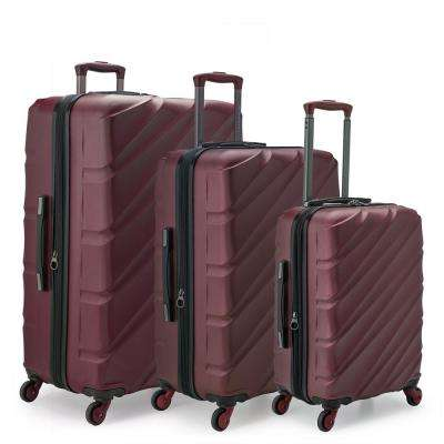 Gilmore 3-Piece Burgundy Expandable Hardside 4-Wheel Spinner Luggage Set with Push-Button Handle System