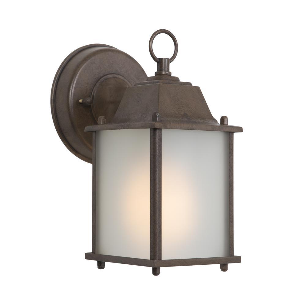 Tara Collection 1-Light Brown Outdoor Wall-Mount Lamp