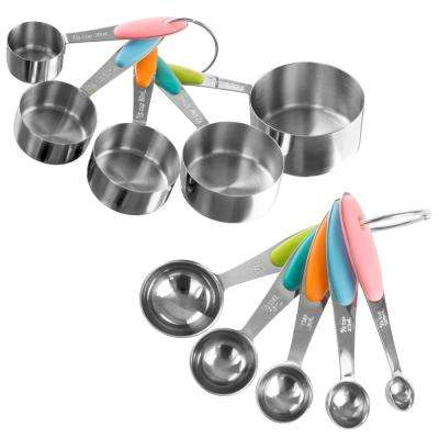 10-Piece Stainless Steel with Silicone Measuring Cups and Spoons Set