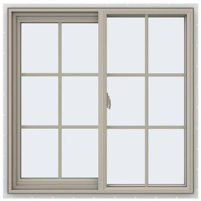 35.5 in. x 35.5 in. V-2500 Series Desert Sand Vinyl Left-Handed Sliding Window with Colonial Grids/Grilles