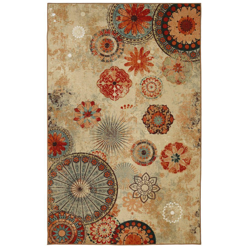 Mohawk Home Alexa Medallion Brown 5 Ft X 8 Indoor Outdoor Printed Patio Area Rug