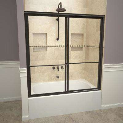 1100 Series 59 in. W x 58-1/2 in. H Framed Sliding Tub Doors in Oil Rubbed Bronze with Towel Bars and Clear Glass
