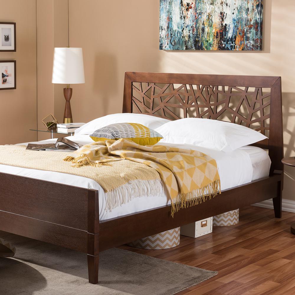 Baxton studio jennifer medium brown king platform bed for Baxton studio