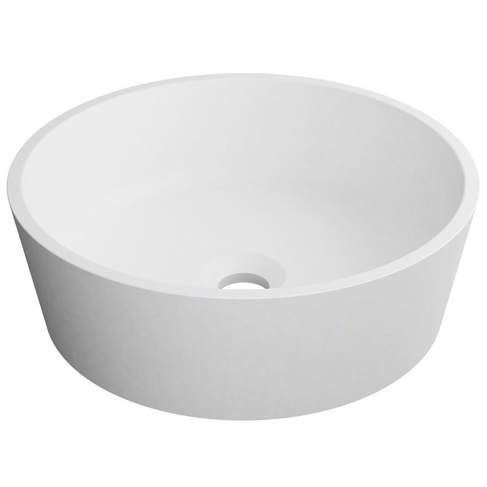 KRAUS Natura Round Solid Surface Vessel Sink In White