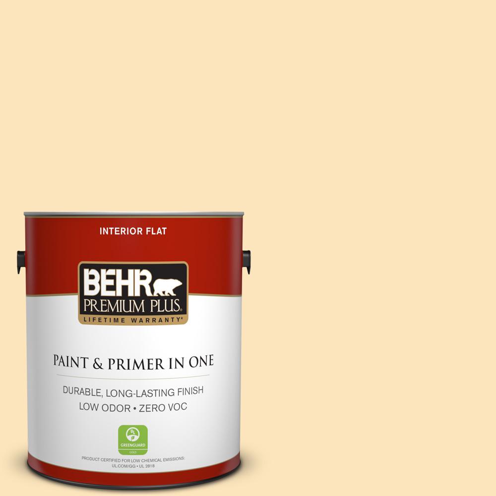 BEHR Premium Plus 1-gal. #BIC-28 Butter Creme Flat Interior Paint
