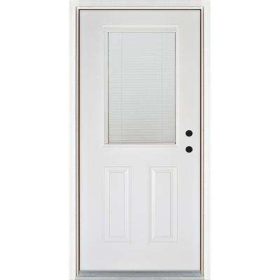 36 in. x 80 in. Low-E Blinds Between Glass White Left-Hand Inswing 1/2 Lite Clear Fiberglass Prehung Front Door