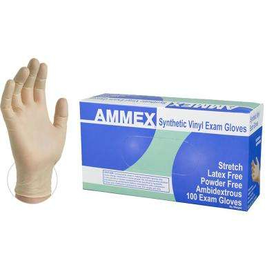 Stretch Synthetic Ivory Vinyl Exam Powder-Free Disposable Gloves (100-Count) - Medium