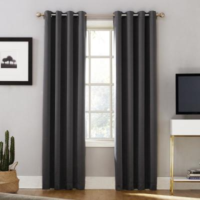 Oslo Woven Home Theater Grade Blackout Coal Grommet Single Curtain Panel - 52 in. W x 63 in. L