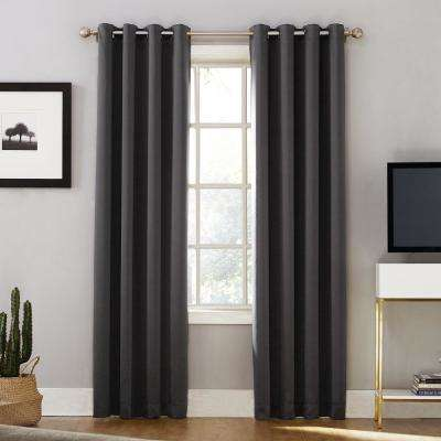 Oslo Woven Home Theater Grade Blackout Coal Grommet Single Curtain Panel - 52 in. W x 95 in. L