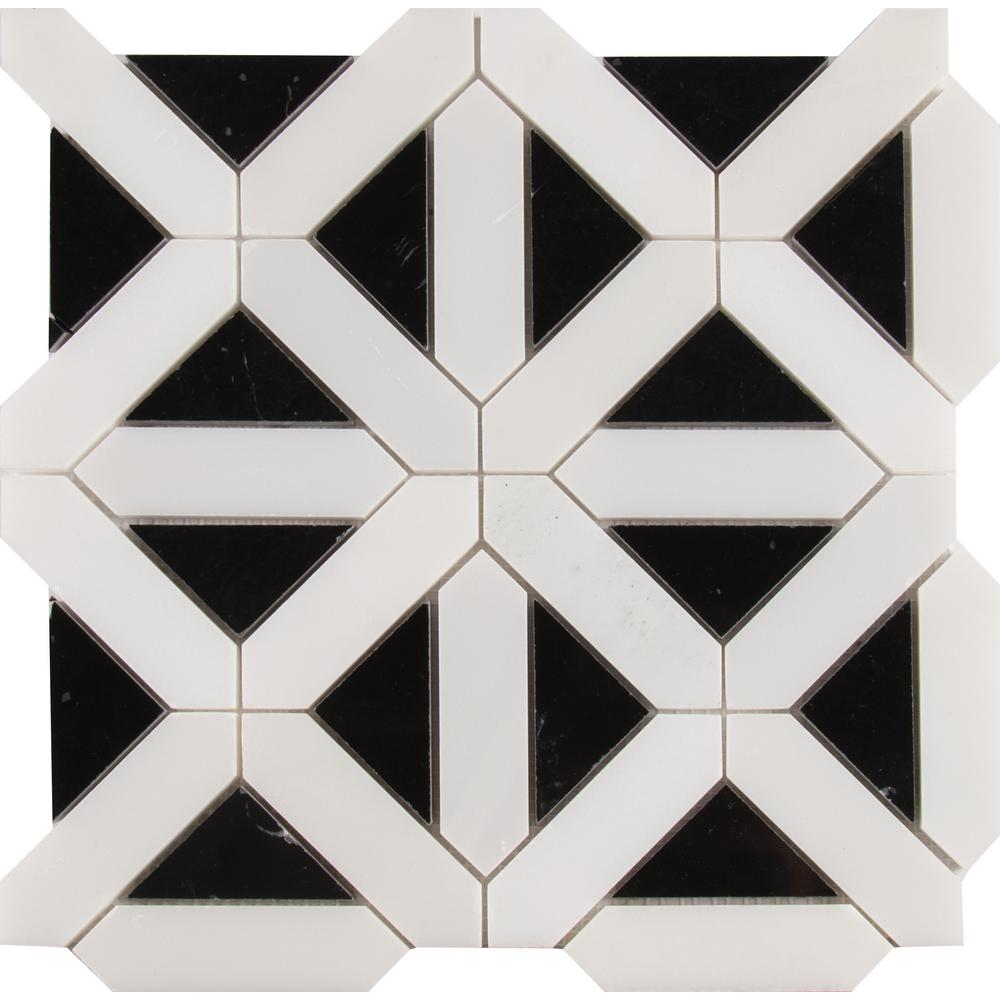 MSI Retro Fretwork 12 in. x 12 in. x 10 mm Polished Marble Mesh-Mounted Mosaic Tile