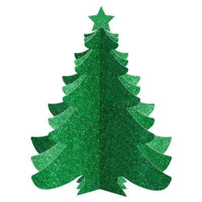 10.25 in. Christmas 3D Green Glitter Tree Decorations (3-Pack)