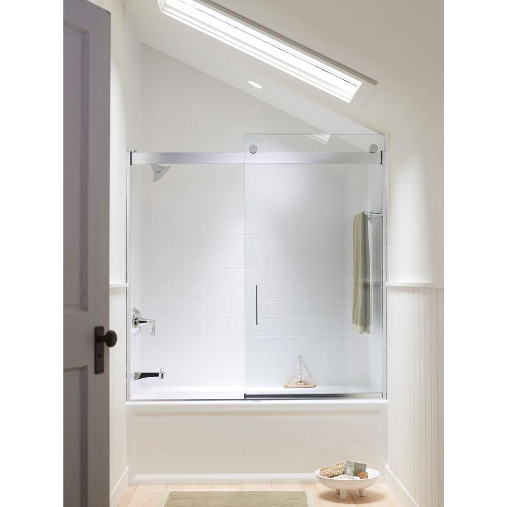 Kohler Levity 59 In X 59 75 In Semi Frameless Sliding Tub Door