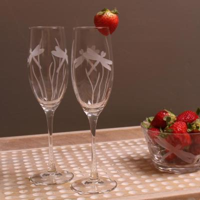 Dragonfly 8 oz. Clear Champagne Flute (Set of 4)