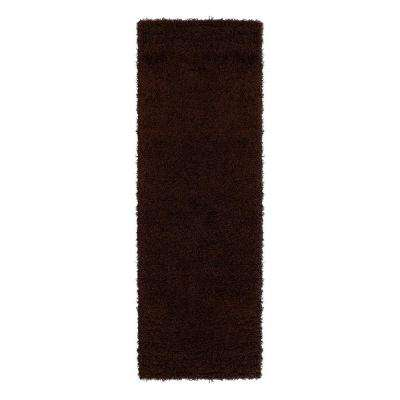Cozy Shag Collection Brown 3 ft. x 8 ft. Runner Rug
