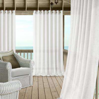 Carmen Sheer 114 in. W x 84 in. L Polyester Indoor/Outdoor Single Window Curtain Panel in White