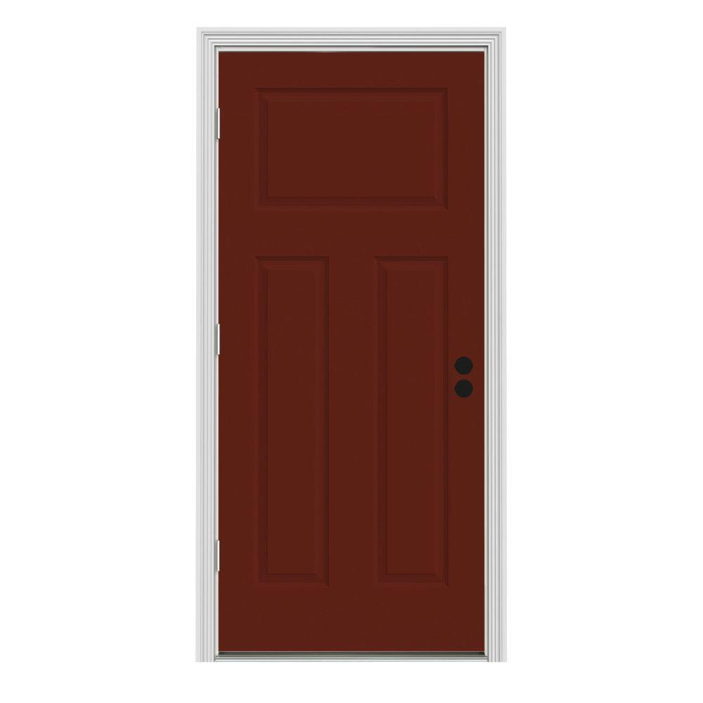 JELD-WEN 34 in. x 80 in. 3-Panel Craftsman Mesa Red Painted Steel Prehung Right-Hand Outswing Front Door w/Brickmould