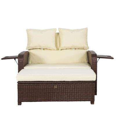 Adeline Brown Wicker Outdoor Chaise Lounge with Tan Cushions