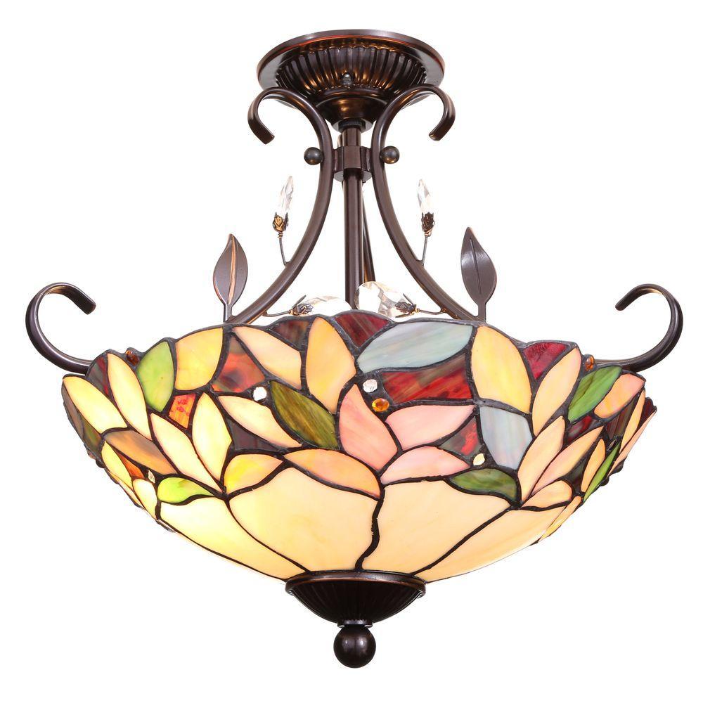 Crystal Leaf 2-Light Antique Bronze Semi-Flush Mount Light