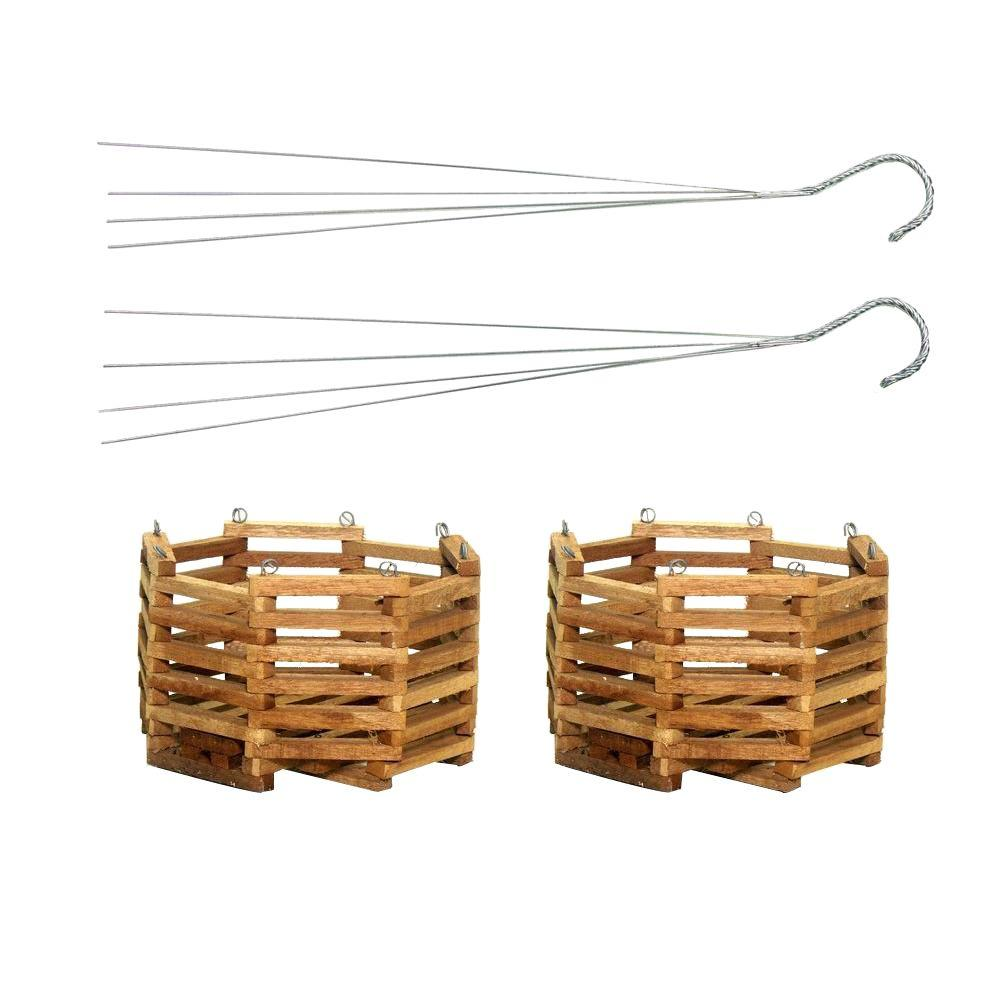 6 in. Wooden Octagon Hanging Baskets (2-Pack)