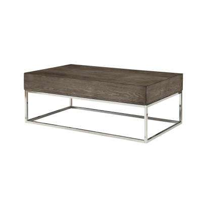 Cecil II Gray Oak and Chrome Coffee Table