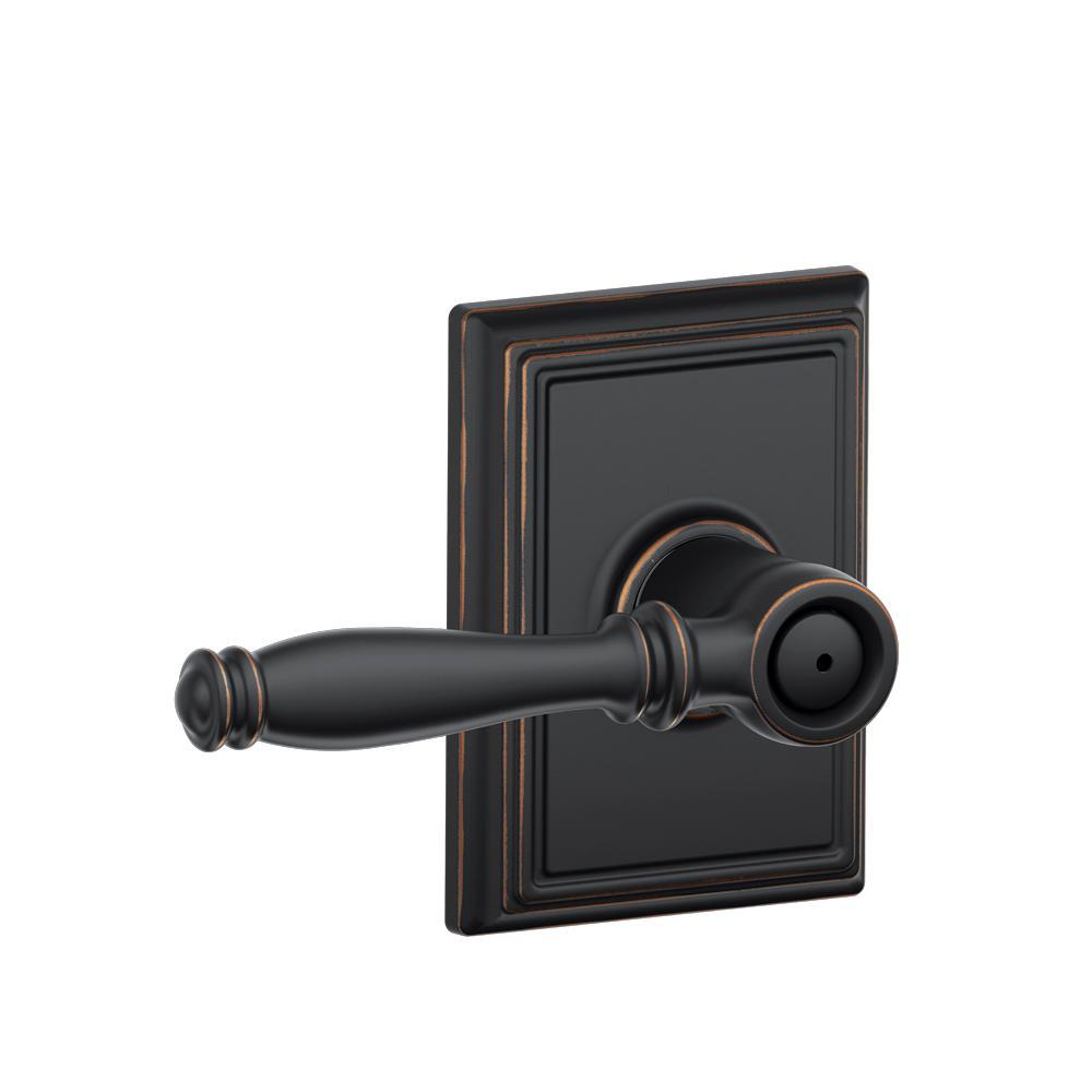 Schlage Birmingham Aged Bronze Privacy Door Lever with Addison Trim