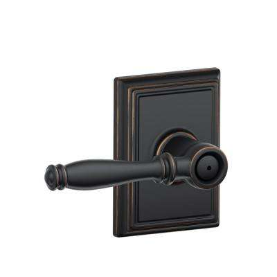 Birmingham Aged Bronze Privacy Bed/Bath Door Lever with Addison Trim