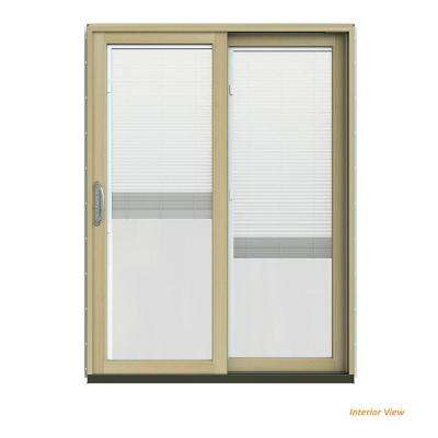 60 in. x 80 in. W-2500 Contemporary Desert Sand Clad Wood Right-Hand Full Lite Sliding Patio Door w/Unfinished Interior