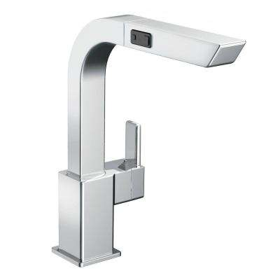 90-Degree Single-Handle Pull-Out Sprayer Kitchen Faucet in Chrome