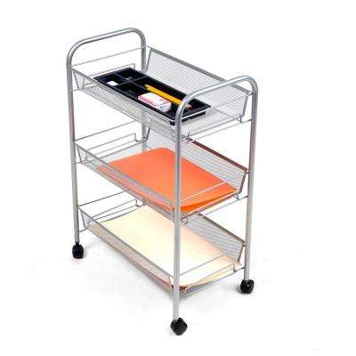 Roll Rolling Metal Mesh 3-Shelf Coffee Cart in Silver