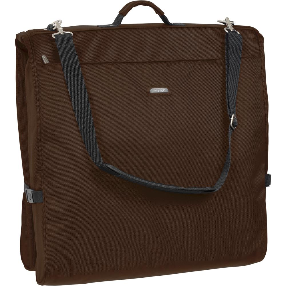 Framed Garment Bag With Shoulder Strap And Multiple Accessory Pockets In Brown 1910 The Home Depot
