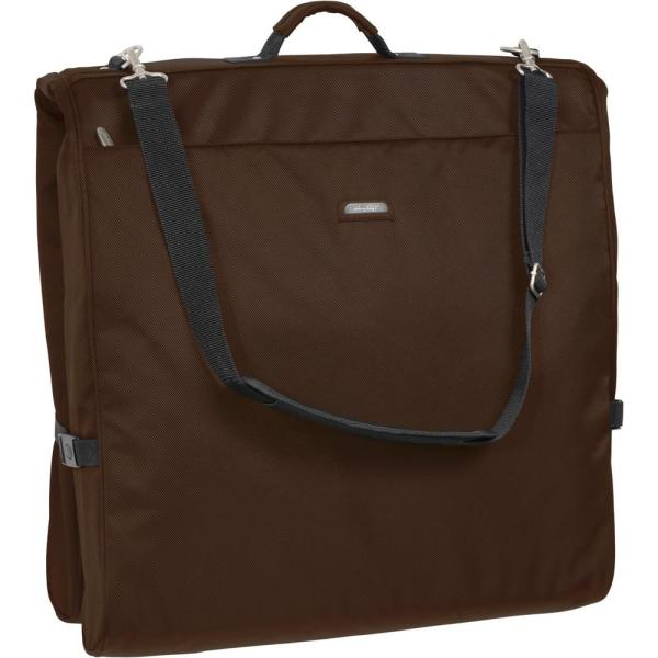 WallyBags 45 in. Framed Garment Bag with Shoulder Strap and Multiple Accessory Pockets in Brown