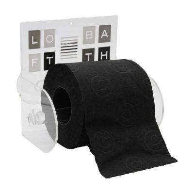 Peace and Loft Toilet Paper Holder Paper 1-Roll Holder Suction Mounted in 100% Acrylic