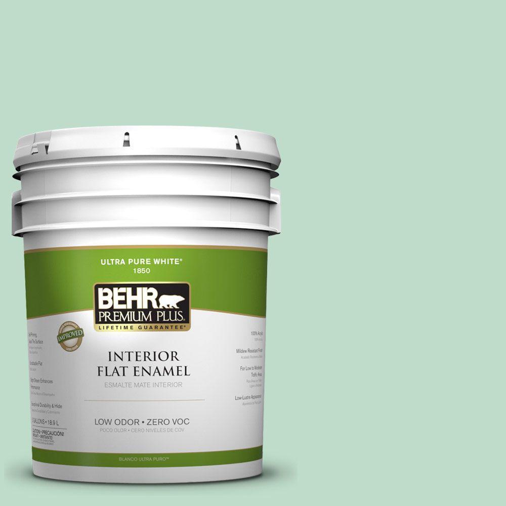 BEHR Premium Plus 5-gal. #470C-3 Spirited Green Zero VOC Flat Enamel Interior Paint-DISCONTINUED