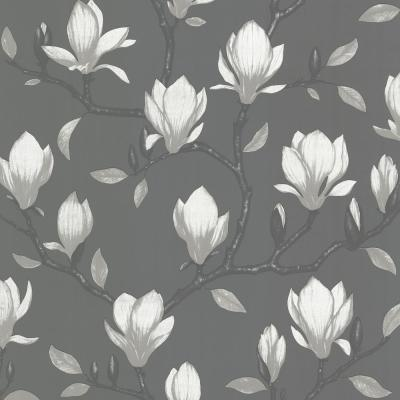 Grandiflora Charcoal Magnolia Wallpaper Sample