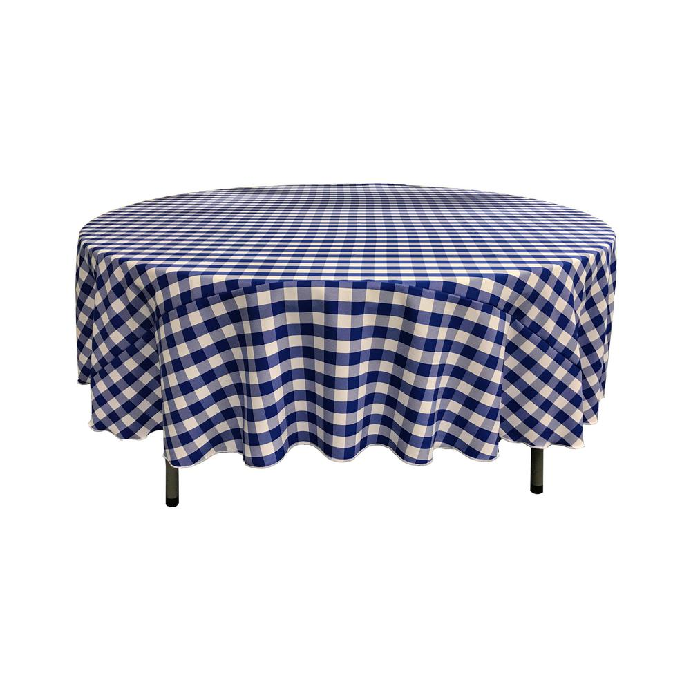 72 in. White and Royal Blue Polyester Gingham Checkered Round Tablecloth