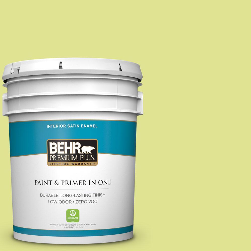 BEHR Premium Plus 5-gal. #410A-3 Honeydew Zero VOC Satin Enamel Interior Paint