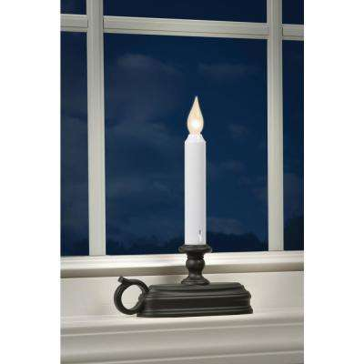 9 in. Warm White LED Deluxe Battery Operated Candle with Aged Bronze  Base