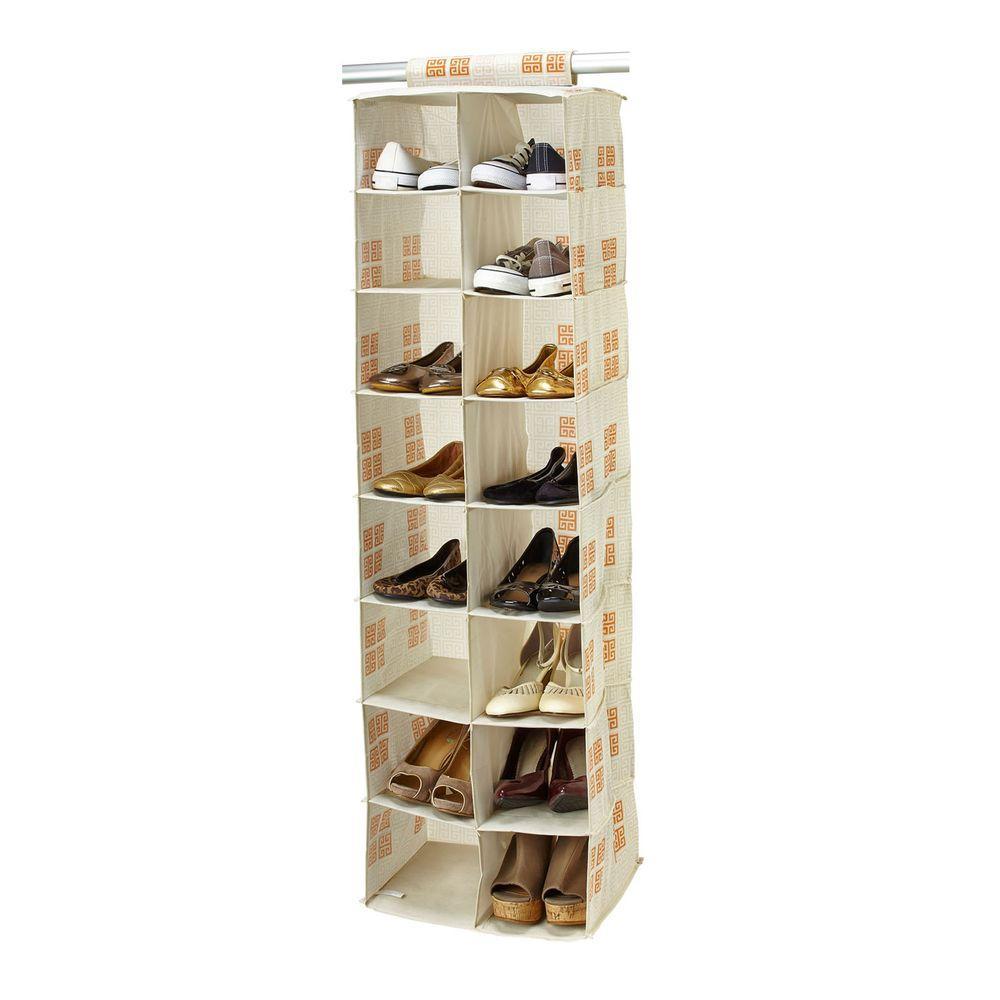 16-Pocket Polypropylene Shoe Organizer in Cameo Key Cream